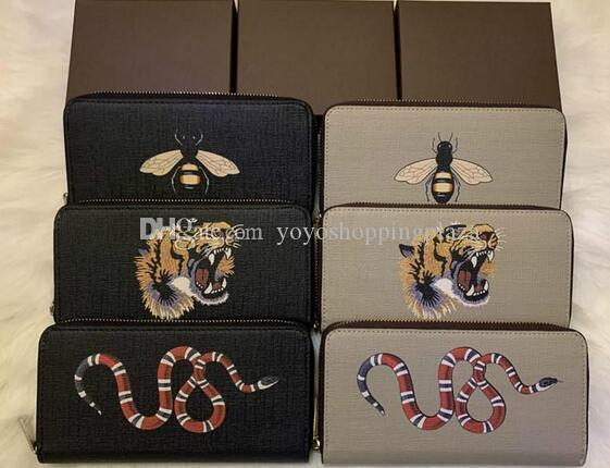mens designer card holder quality animal long zipper wallet men and women snakeskin tiger bee wallet card holder original box y102