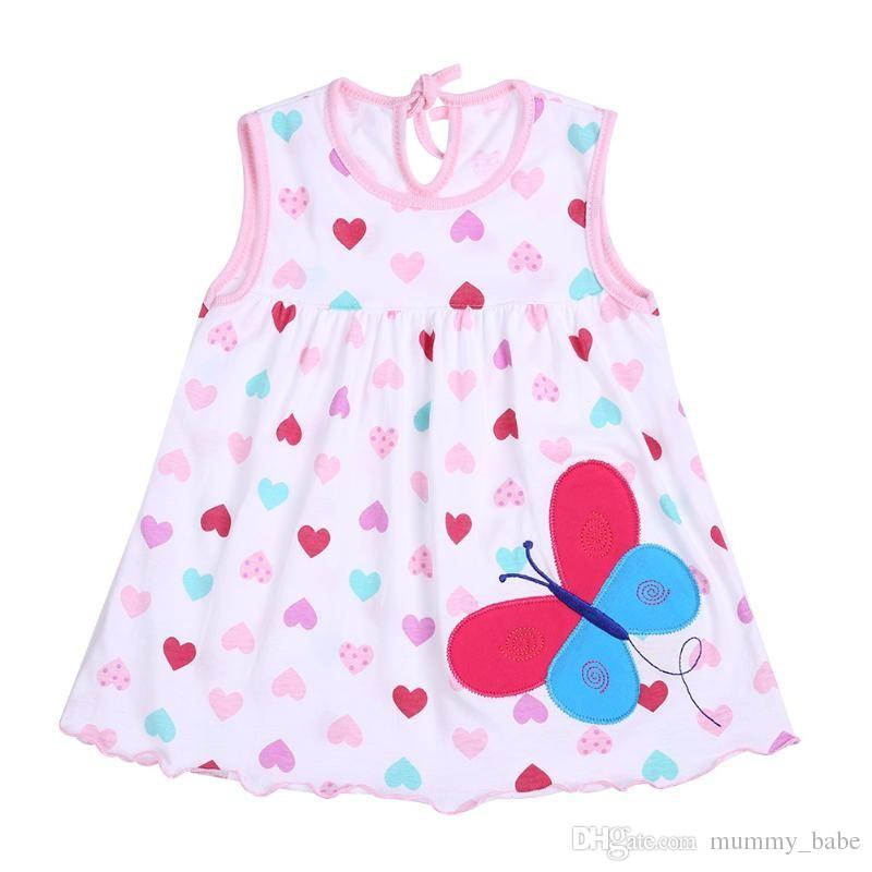 a9e2ef9e4 Compre Bebé Recién Nacido Vestidos De Verano Niñas Bebé O Cuello Sin Mangas  De Algodón Princesa Mini Vestido Niño Lindo Patrón Decoración Punto Ropa A  ...