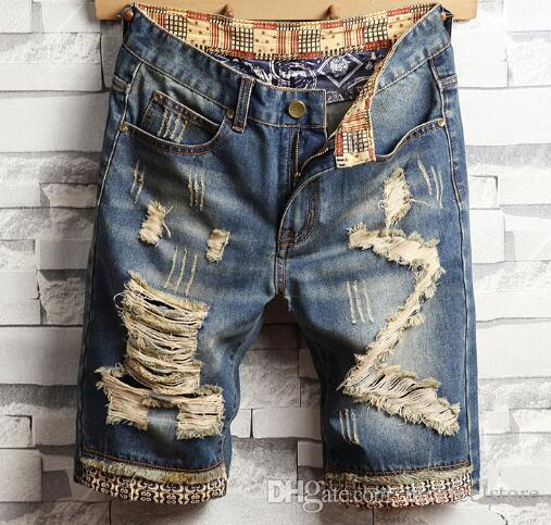 2019 New arrival!Men's hole shorts fashion urban explosion models foreign trade badge embroidery European and American jeans