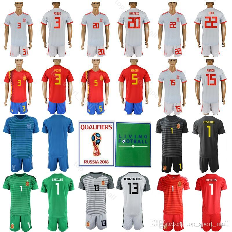 b23dddd6710 2019 Men Soccer 3 Gerard Pique Spain Jersey Set 20 Marco Asensio 1 Iker  Casillas 1 DE GER Football Shirt Kits With Short Pant From Top sport mall