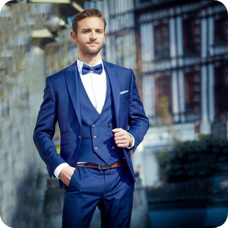 17517de4b35f Royal Blue Men Wedding Suits Custom Made Groom Tuxedos Skinny Man Blazers Peaked  Lapel Jacket Latest Coat Pants Designs Costume Homme White Prom Suit All ...