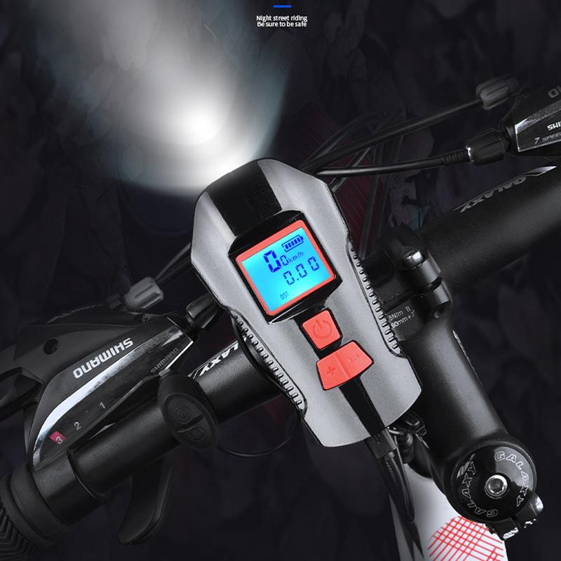 2fac245bcf8 2019 Bicycle LED Light With Odometer Display Bike Bell Bicycle Horn ...