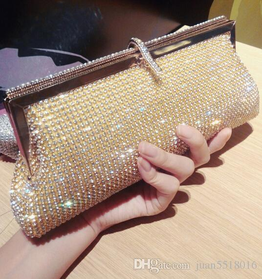 We Best Price Diamond Evening Bag High Grade Full Rhinestone Dinner Bag / Clutch Purse / Bridal Wedding Bag Silver & Gold Factory Outlets