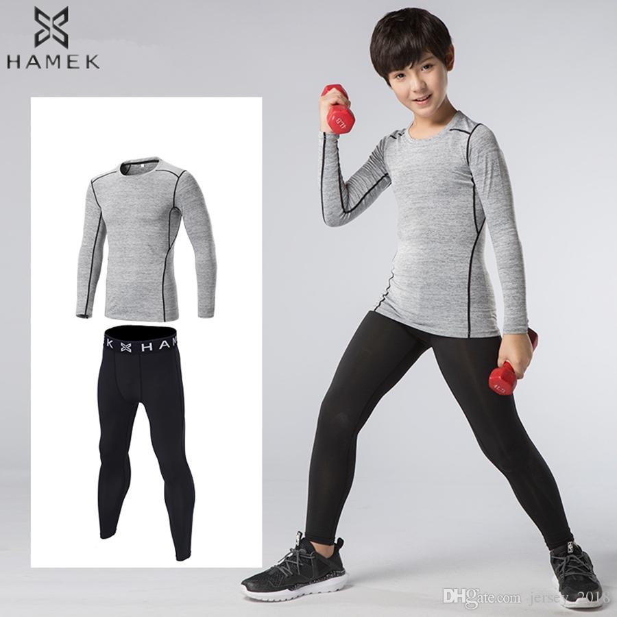 b500fefab4 2019 Kids Compression Base Layer Running Sets Pants Tracksuit Fitness Tights  T Shirts Leggings Basketball Gym Sports Suits Sportswear #225483 From ...