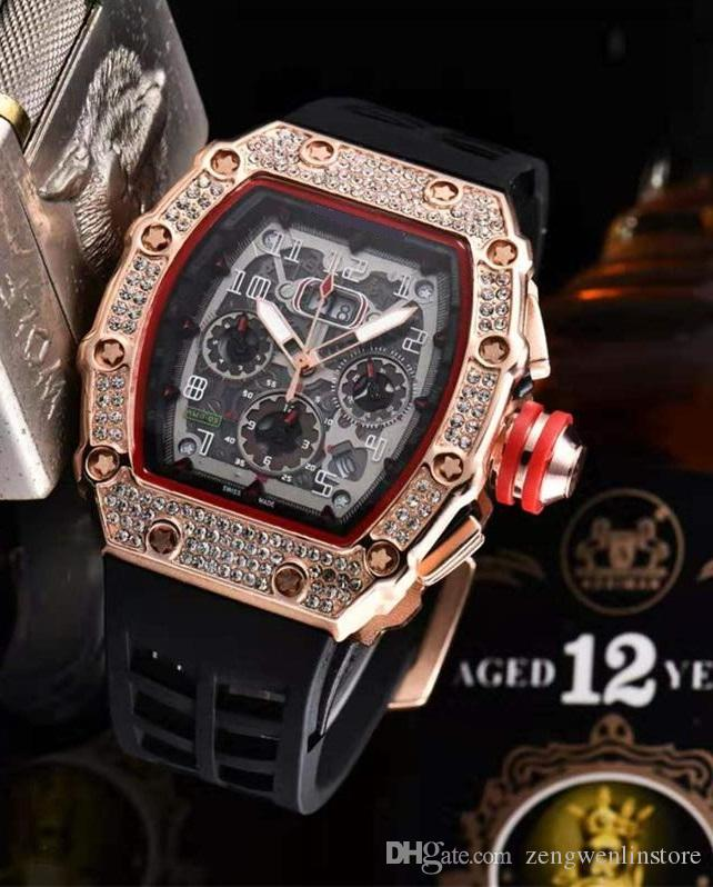 Hip Hop Bling Diamond Watch For Men Gold Stainless Steel Band Men's Business Quartz Skeleton Waterproof Relogio Masculino drop shipping