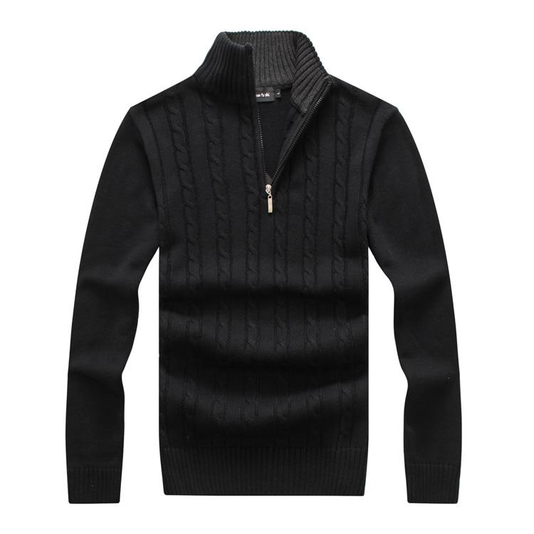 2017 winter thick sweater men brand clothing hight quality pullover solid knitted sweater male mandarin collar jumper