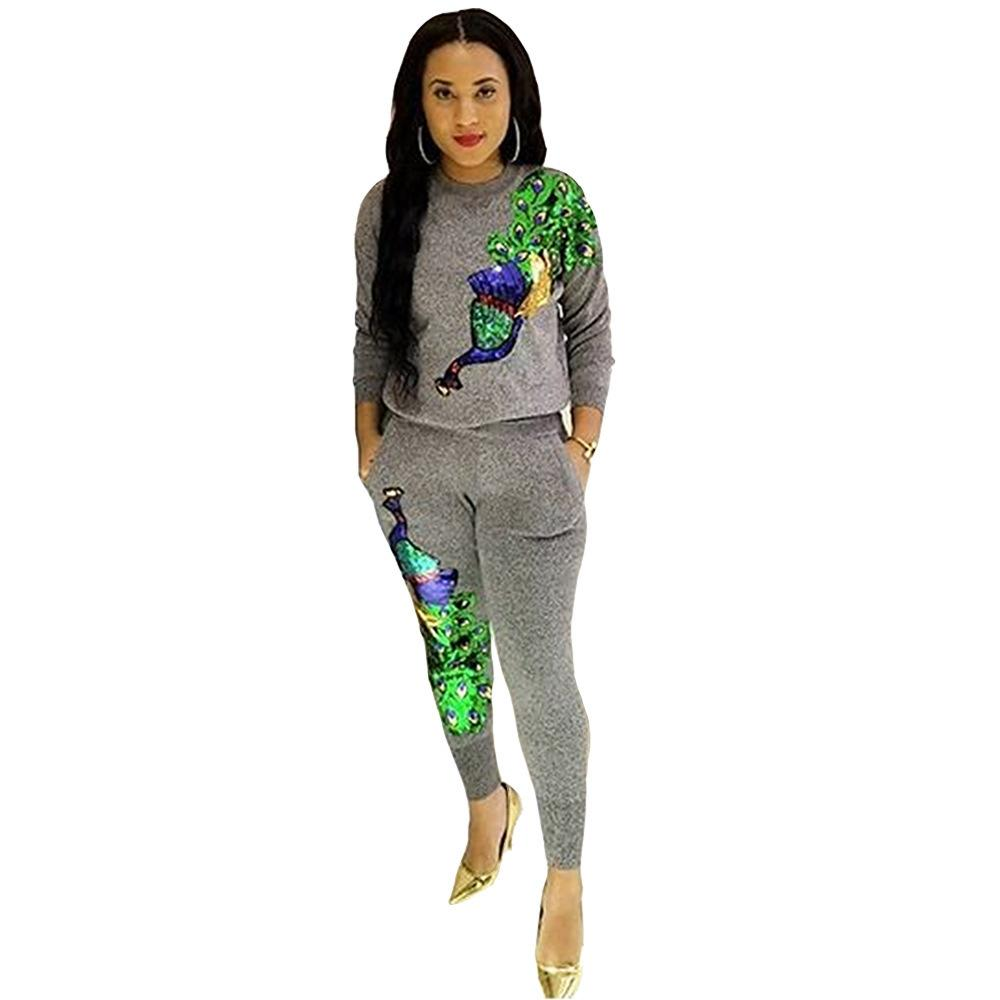Sequined Peacock Full Sleeve Winter Tracksuit Women Set Overalls Sweatshirt+pant Lady Fashion Sexy Two Pieces Suits Casual B9056