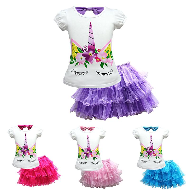 96303fad8fdb 2019 Girls Skirt Set With Unicorn Top T Shirt Rainbow Lace Tutu Tulle Skirt  Outfits Dress Set Clothes Girls Summer Clothes Set TC181127W From Topteam,  ...