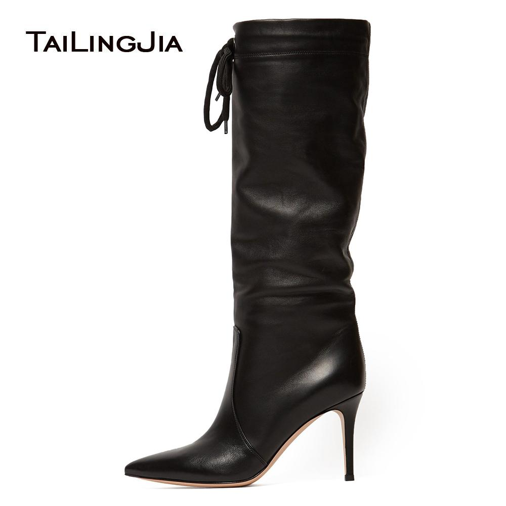 eea65fc069 New Elegance Woman Comfortable Black High Heel 9 CM Point Toe Knee Boots Lace  Up Pointed Toe Ladies Winter Boots Boot Socks Biker Boots From Tradingmk,  ...