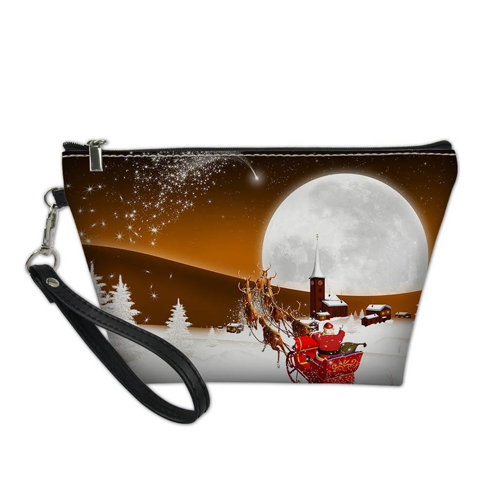 52cca489cb61 3D Cartoon Merry Christmas Printed Designer Cosmetic Bag for Women Beauty  Makeup Travel Organizers Bags Make Up Pouch Case