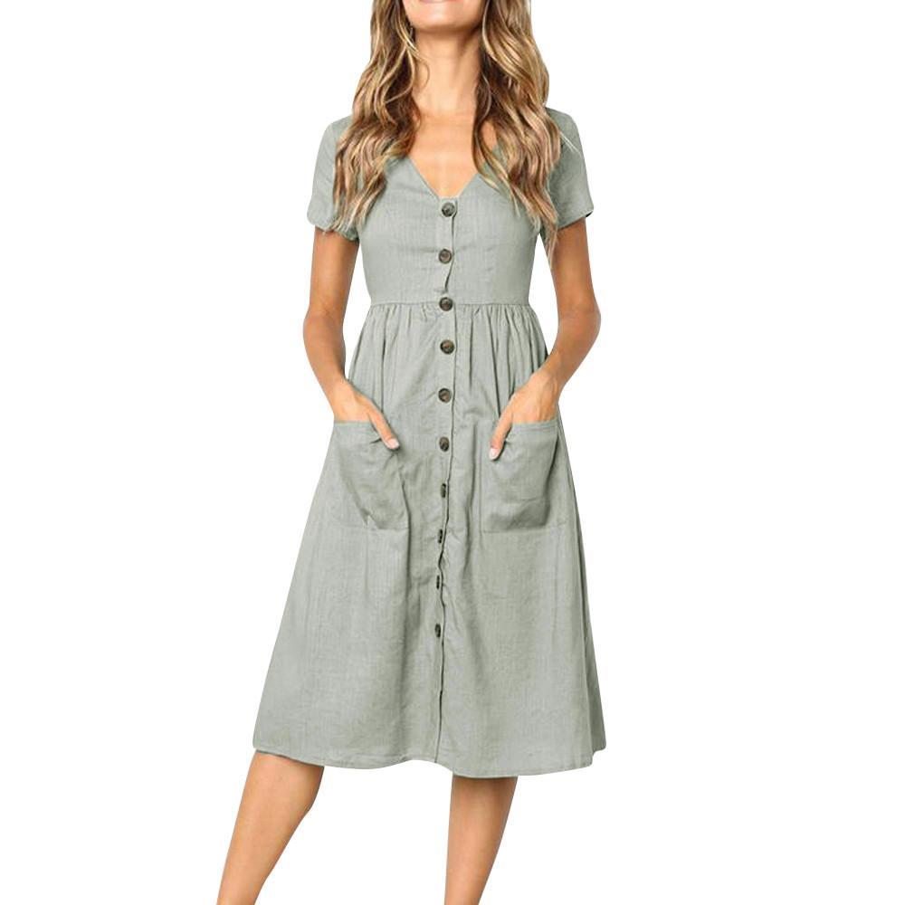 cffe6c9982b9 Dress Womens 2019 Elegant Gray Dress Holiday Summer Beach Solid short  Sleeve Buttons Party roupas femininas  0.92