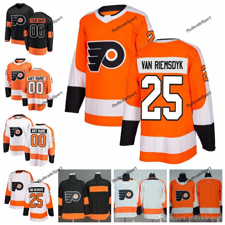 pretty nice e597c ac0db 2019 Philadelphia Flyers James van Riemsdyk Hockey Jerseys Mens Custom Name  Home Orange #25 James van Riemsdyk Stitched Hockey Shirts S-XXXL