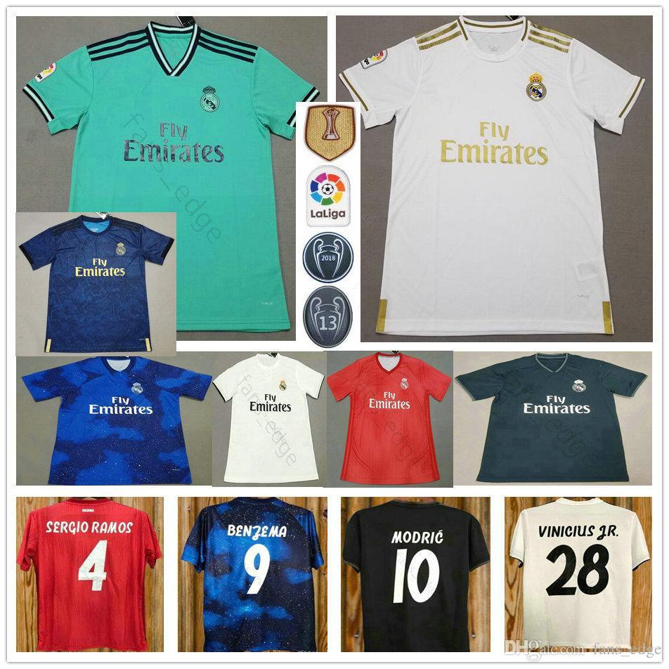 f0254f29900 2019 2019 2020 Real Madrid Soccer Jerseys 10 MODRIC HAZARD ASENSIO VINICIUS  JR KROOS BENZEMA VARANE Custom Man Woman Kids Youth Football Shirt From ...