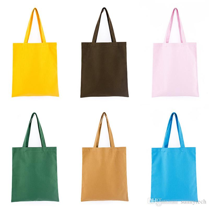 3252f3f7f2 Colorful Blank Pattern Canvas Shopping Bags Eco Reusable Foldable Shoulder  Bag Handbag Tote Cotton Tote Bag Wholesale Custom Logo LX1245 Canvas  Shopping ...