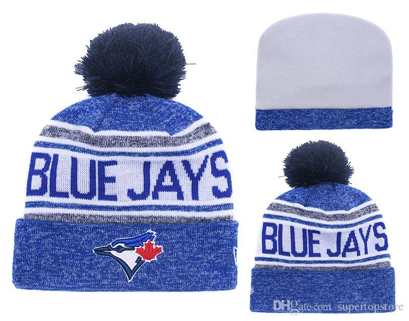 2018 New Canada Blue Jays Baseball Skullies Hat Pom Toronto Cuffed Knitted Hats With Embroidered Team Logo Fans Fashion Winter Women Beanies
