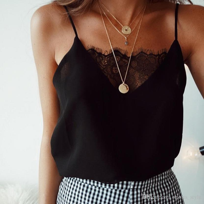 89ce3aed7cea25 Black White Lace Thin Camis Women Slip Tank Tops Female 2018 Summer Sexy  Strap Tops Chiffon Sleeveless See Through Camisole C25  419030 UK 2019 From  ...