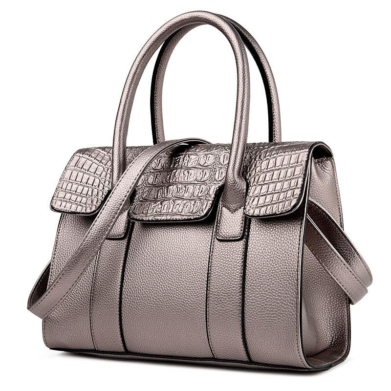 2019 Fashion Women Bag 2018 Luxury Handbags Designer Crocodile Skin  Printing Pu Leather Shoulder Bag Silver Black Office Lady Hand Bag Purse  Handbags For ... c1b811c099e7b