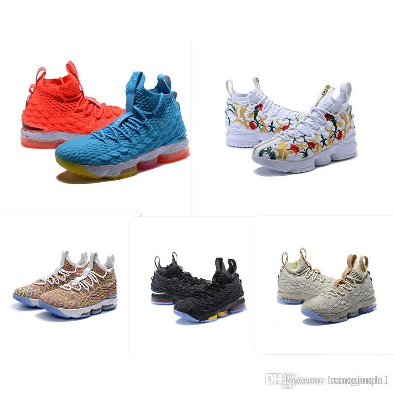 new style 0e606 eff2c what the lebron 15 basketball mens shoes for sale flowers MVP Christmas BHM  Oreo youth kids Generation sneakers boots with original box