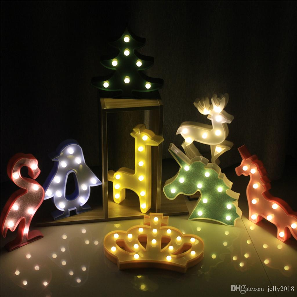 Chambre Nuit Lumière Lampe Pvc Led Ampoule Cartoon Licorne Animaux Flamingo Sommeil Pingouin Bébé En Couronne Plastique Enfant Lampes vm8nN0w