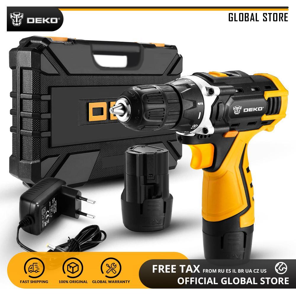 DEKO New Arrival Banger 12V DC Cordless Drill LED Mini Wireless Power Driver Home DIY Electric Screwdriver Practical Power Tool