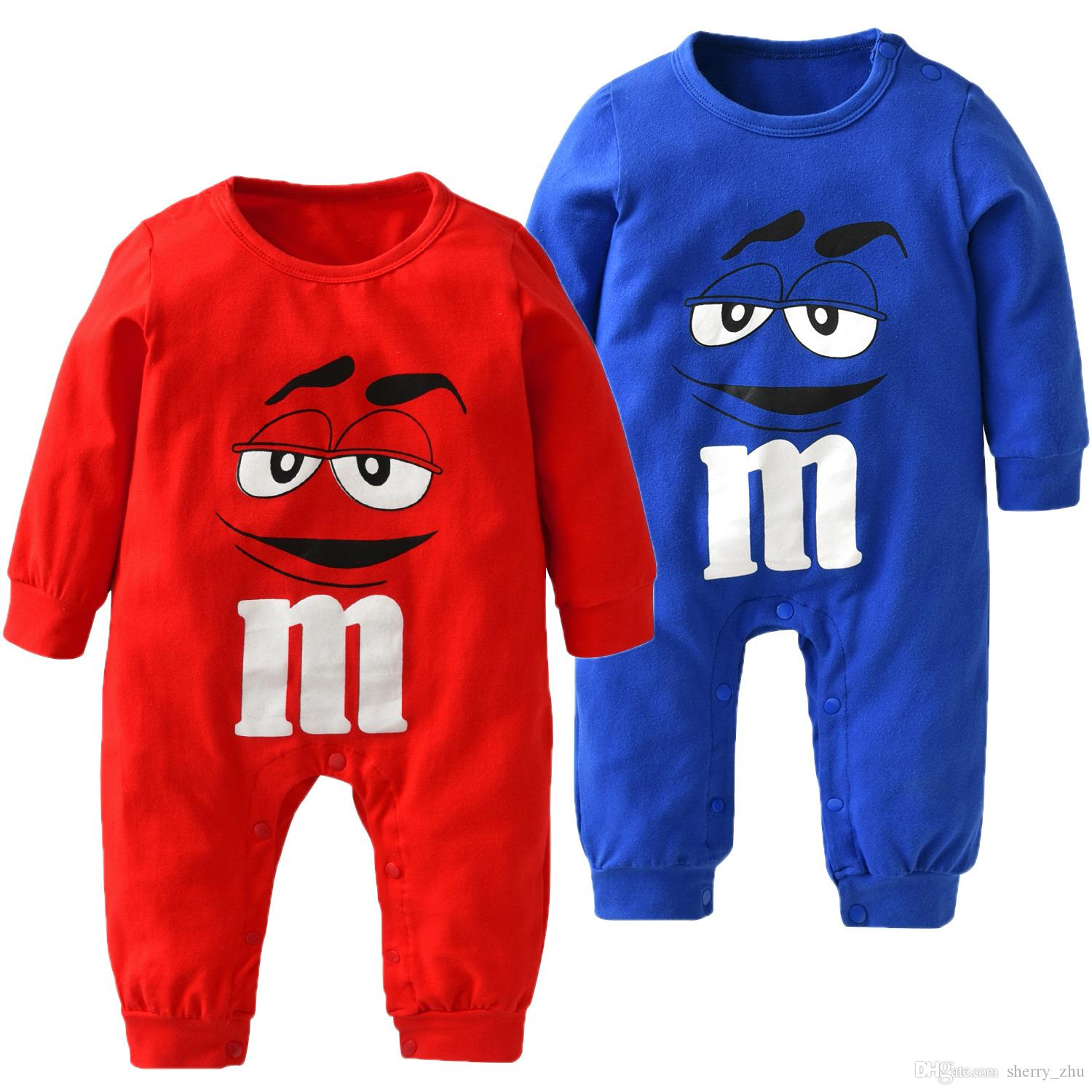Newborn Baby Boys Girls Clothes Cartoon M beans 100% Cotton Long Sleeve Jumpsuits Toddler Casual Baby Clothing Sets