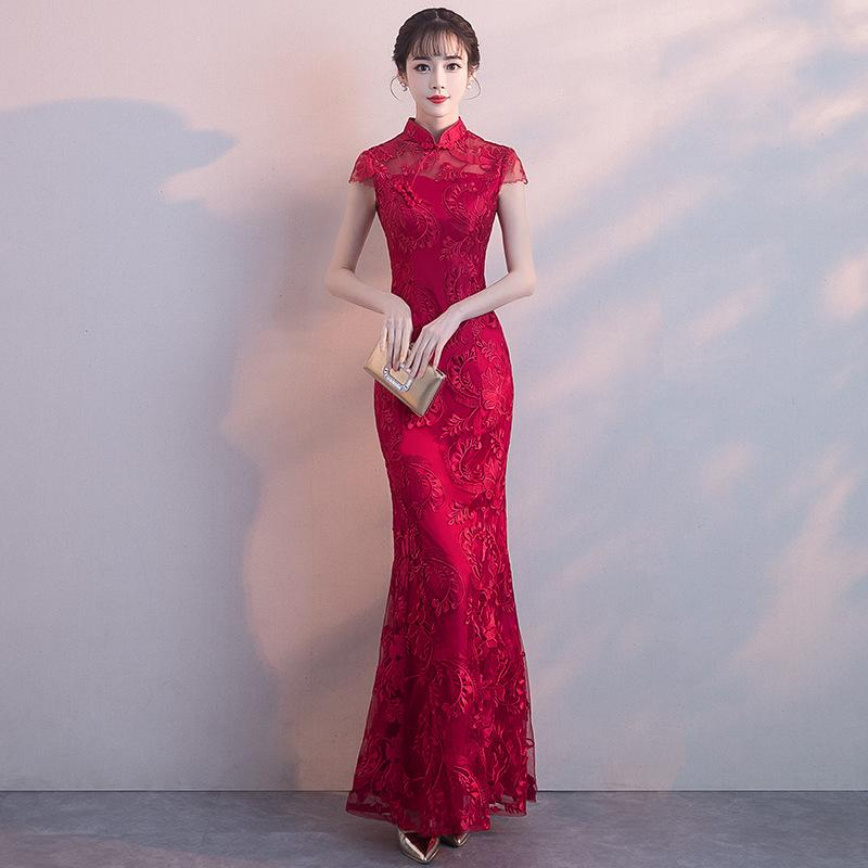 094e41bb3 FY016 Qipao Red Lace Cheongsam Women Chinese Traditional Dress Female  Wedding Dress Vestido Oriental Qipao Evening Party Dress Unique Special  Occasion ...