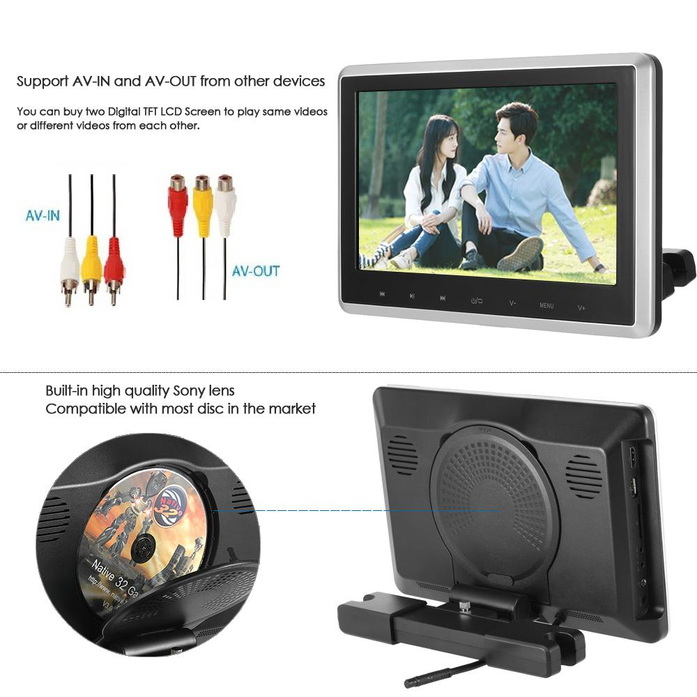 10.1 Inch TFT Digital LCD Screen Car Headrest DVD Player Touch Button Monitor with HD USB SD Port Remote Control
