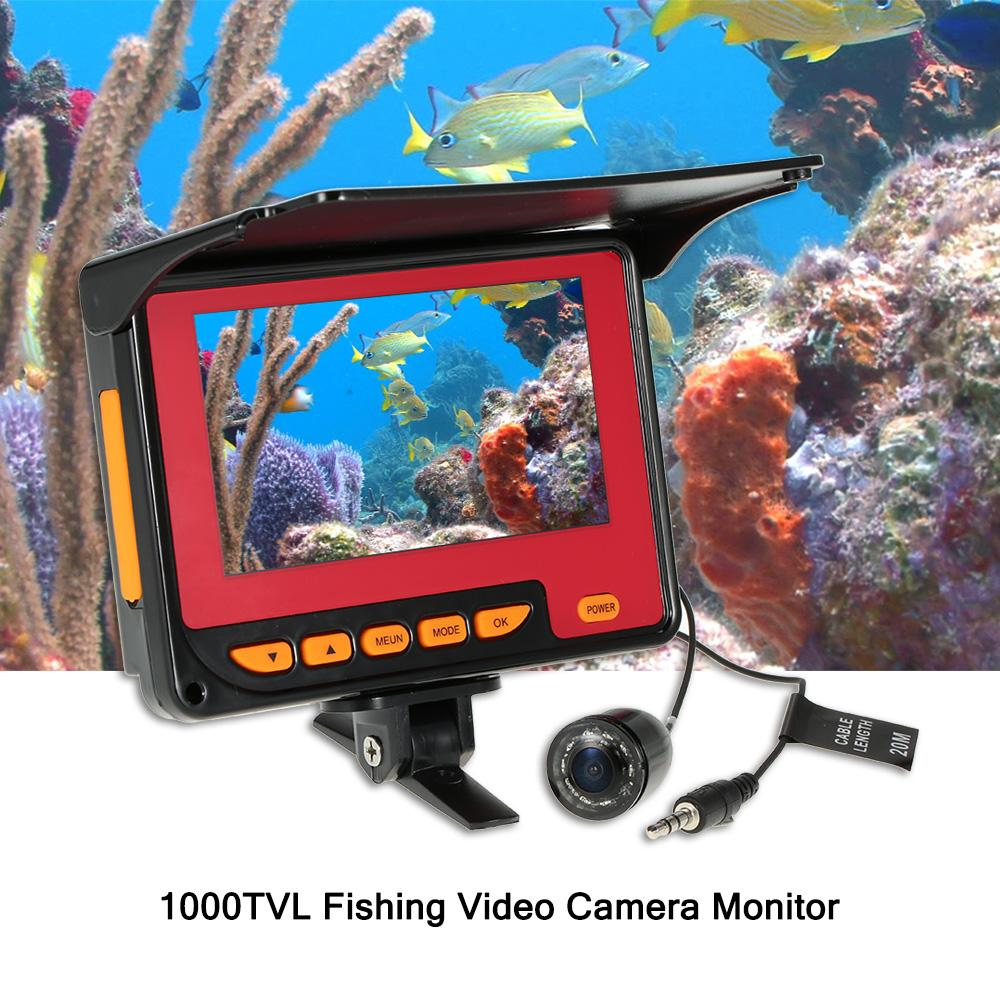 Angeln Kamera 20 Mt Kabel EU / US Stecker 4,3 '' Digital LCD 1000TVL Fischfinder HD Angeln Video Monitor Unterwasser DVR Recorder