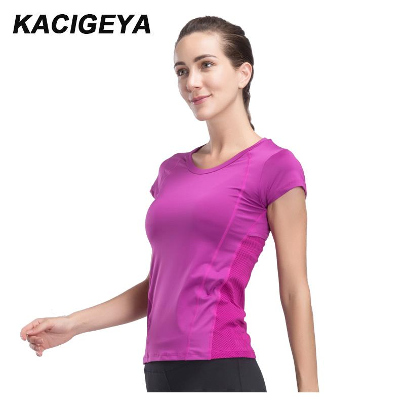 e6bb64222 2019 Gym T Shirt Women Quick Dry Running Cycling Yoga T Shirts Women  Breathable Short Sleeve Sport Fitness Tops 2018 From Kangshifuwat, $35.47 |  DHgate.Com