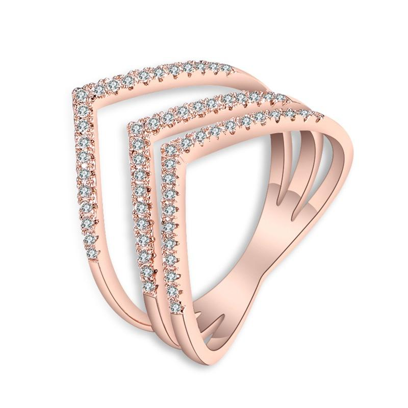 Fashion Ring Rose Gold Color Trendy Three V Shape Ring Inlay Zircon for Women