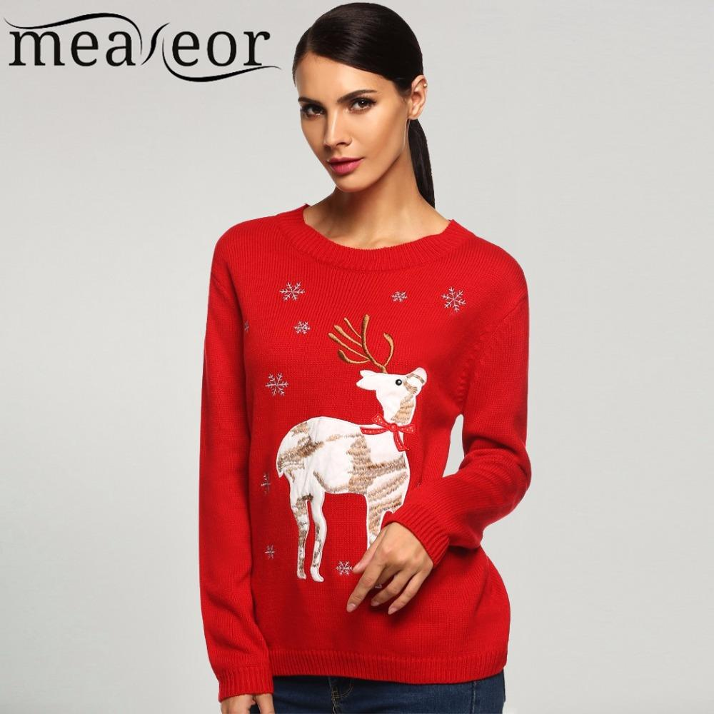 Meaneor Mesdames Femmes Automne / Hiver Chandail De Noël Casual O-cou À Manches Longues Animal Applique Elk Cerf Mince Sexy Chaud Chandails