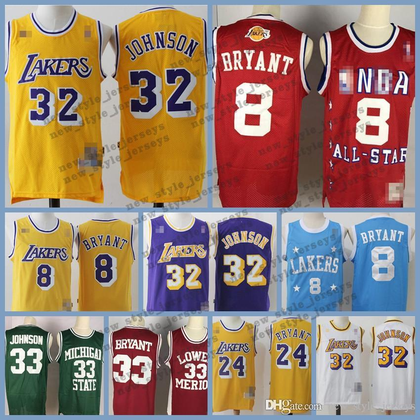 cheap for discount fa649 936f8 MEN Kobe Los Angeles Retro Laker jersey 24 Bryant Johnson 32 James Earvin  LeBron Ness Classics Basketball Jersey