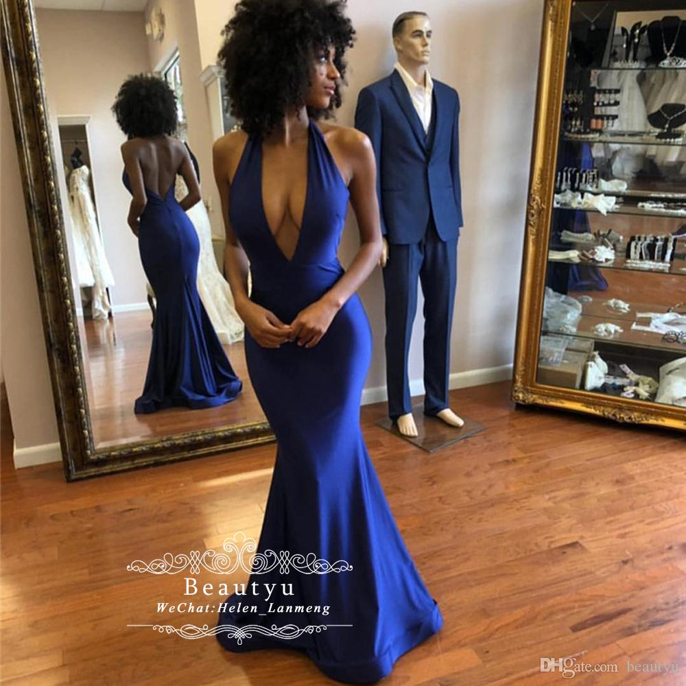 Sexy Mermaid Backless Prom Dresses 2019 Royal Blue Satin Halter Sleeveless Deep V-Neck African Black Girls Formal Evening Gowns Abendkleider