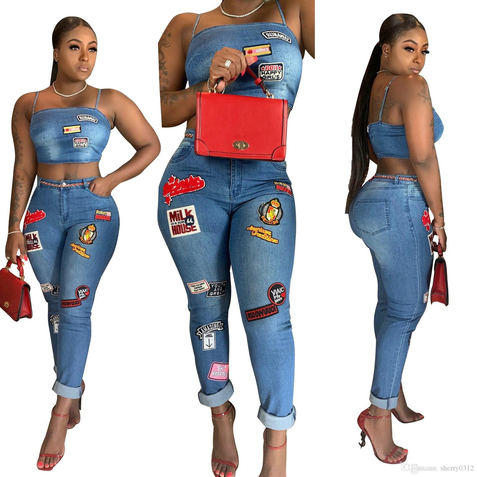 Cartoon Patch Jeans Two Piece Set Fashion Designed Spaghetti Straps Crop Top Curled Jeans 2019 New Women Sexy Night Club Suit Casual Outfits