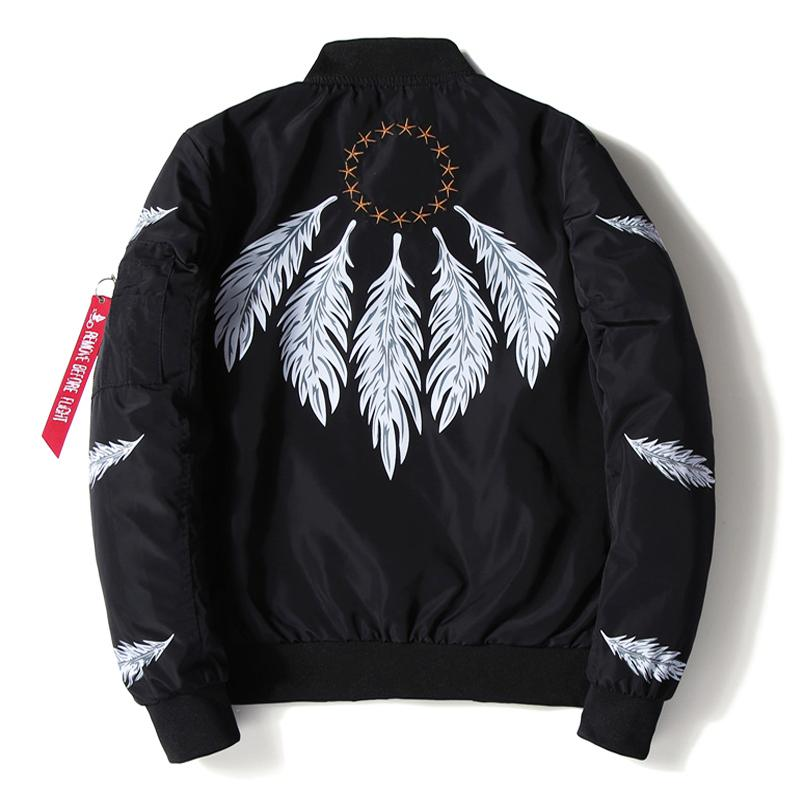 e4f2d3fe8 Mens Bomber Jacket Feather Printed Star Embroidery Flight Jackets Pilot Air  Force Army Green Military Motorcycle Jacket Coat Men