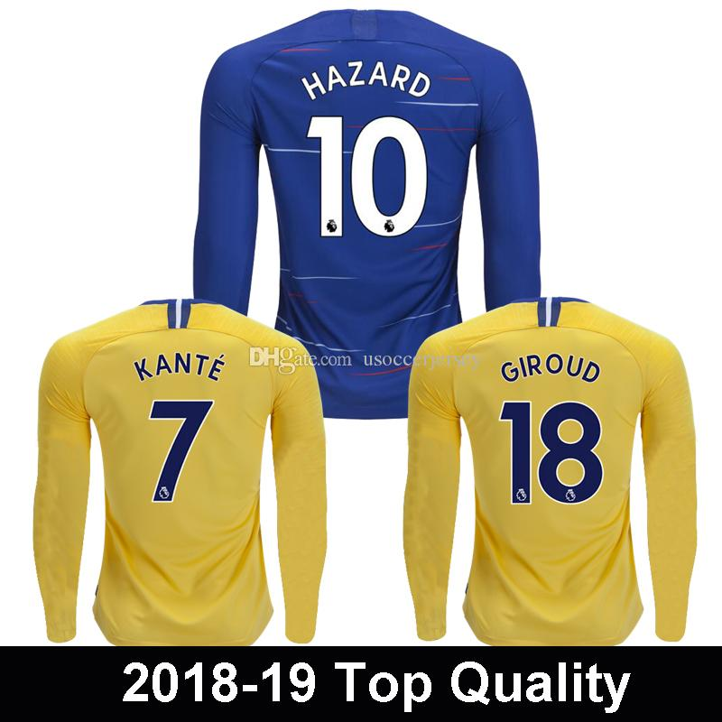 Thailand HAZARD Long Sleeve Soccer Jersey JORGINHO KOVACIC 2019 ... 6038c87dc