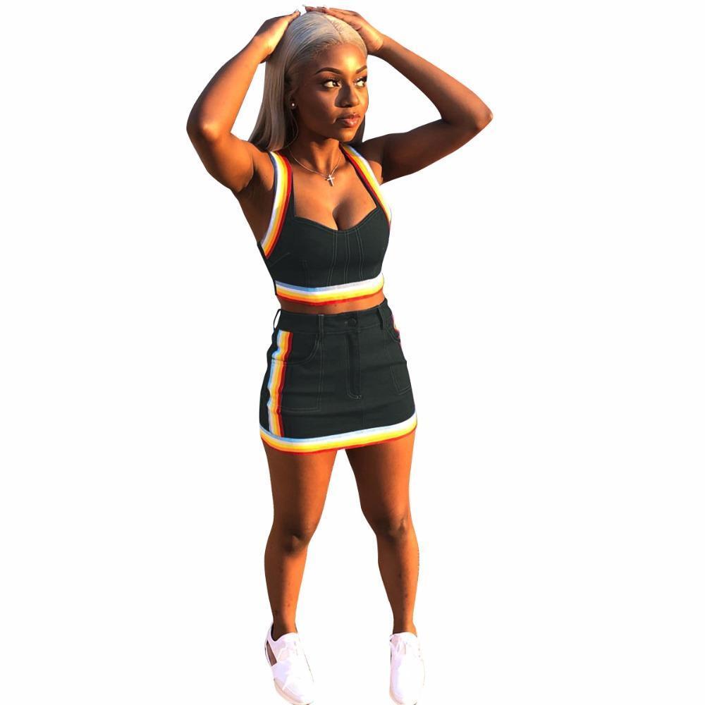 bdb79c02b1f132 2019 KGFIGU Two Piece Set Summer Women Crop Tops And Mini Skirts Sets Blue  Denim Outfits Set Women Matching Sets From Jungee, $27.22 | DHgate.Com