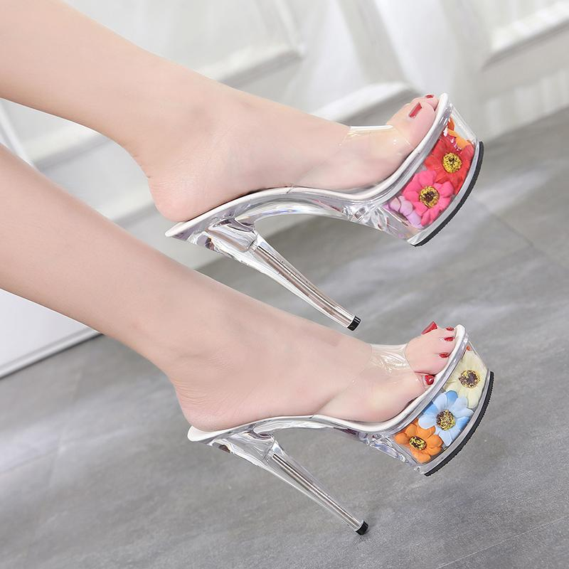 3e9d887e17 Sexy Clear Pvc Women Shoes Slippers Plastic Crystal High Heels 15CM  Transparent Open Toe Flowers Platform Shoes Outdoor Slippers