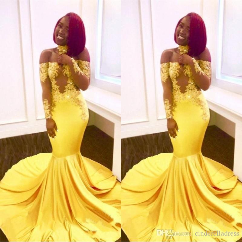 c8e1880b3 2019 Nueva sirena africana amarilla vestidos de fiesta con cordones fuera  del hombro mangas largas See Through Sweep Train Fiesta de noche formal ...