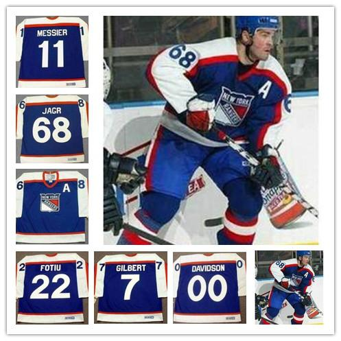 brand new fe92c 34de3 New York Rangers Men s 68 JAROMIR JAGR 7 ROD GILBERT 00 JOHN DAVIDSON 22  NICK FOTIU MARK MESSIER CCM Vintage Retro Hockey stitched Jersey