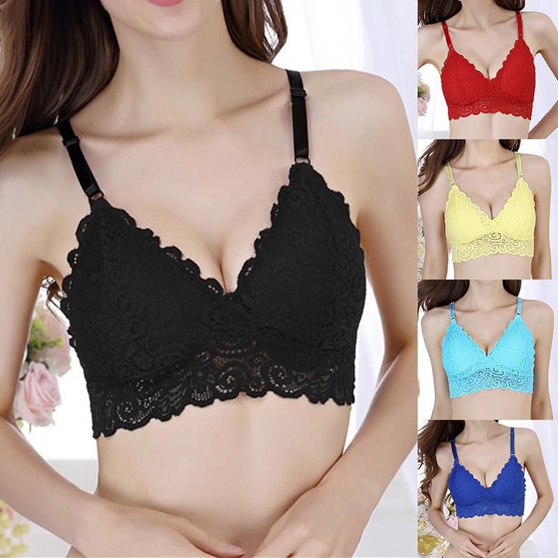 50d542e857 2019 Women Lace Floral Bra Girls Bralette Mesh Bustier Crop Top Sheer  Triangle Padded Bra From Stepheen