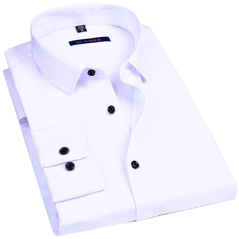 Male Social Formal Shirt Classic Solid Color Design Elasticity Slim Men Dress Casual Long Sleeved Shirt White Black Blue Red