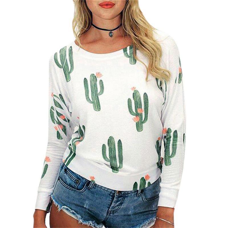 1406d06d816 2019 Fashion Cactus Print Long Sleeve T Shirt Top Casual Women T ...