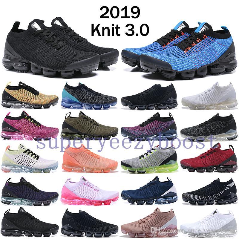reputable site 75a51 5db3e Acheter 2019 Nike Vapormax FlyKnit 3.0 Bleu Fury À Rebours Chaussures De  Course À Venir Hommes Triple Black Oreo Chaussures De Designer Femmes Rose  Blanc ...