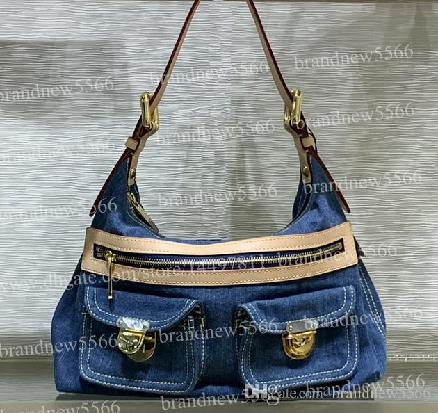2019 Hot Design Women's Jeans Denim Hobos Shoulder Bag 44464 Genuine Calfskin Leather Handbag Lady Crossbody Bags 30cm with adjustable belt
