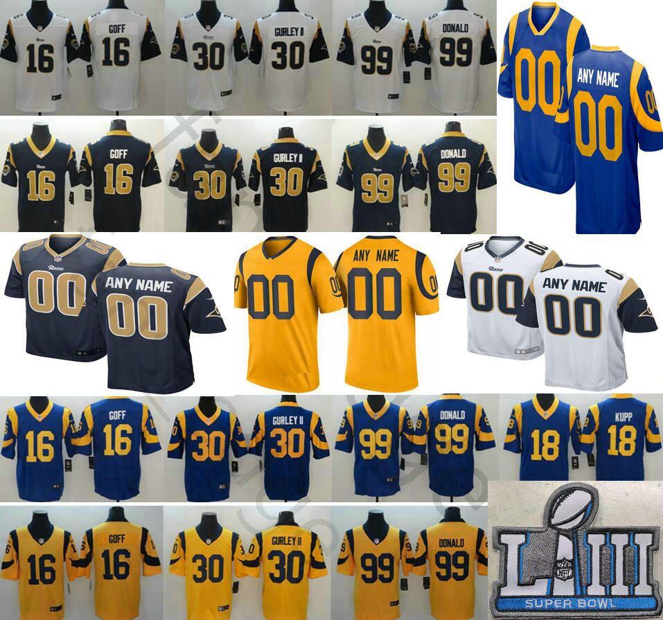hot sale online 21ba8 7b442 Custom 2019 Super Bowl LIII Los Angeles Tyler Higbee Cory Littleton Gerald  Everett Sam Bradford Rams Greg Zuerlein Jerseys Men Women Youth
