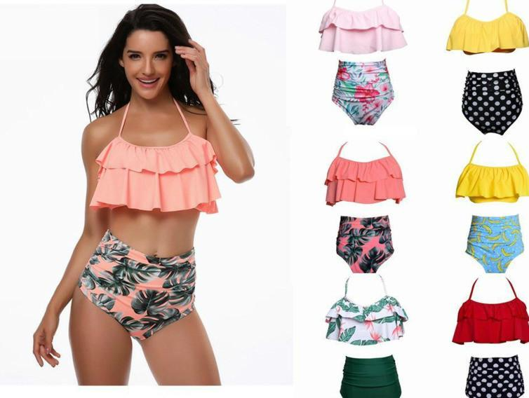 7bf7b342b3f48 2019 Women Bikini Ruffles Design Flower Floral Polka Dots Print Summer  Beach Swimwear Bikini Lady Two Piece Sets Swimsuit Free Ship From Txjc0001,  ...