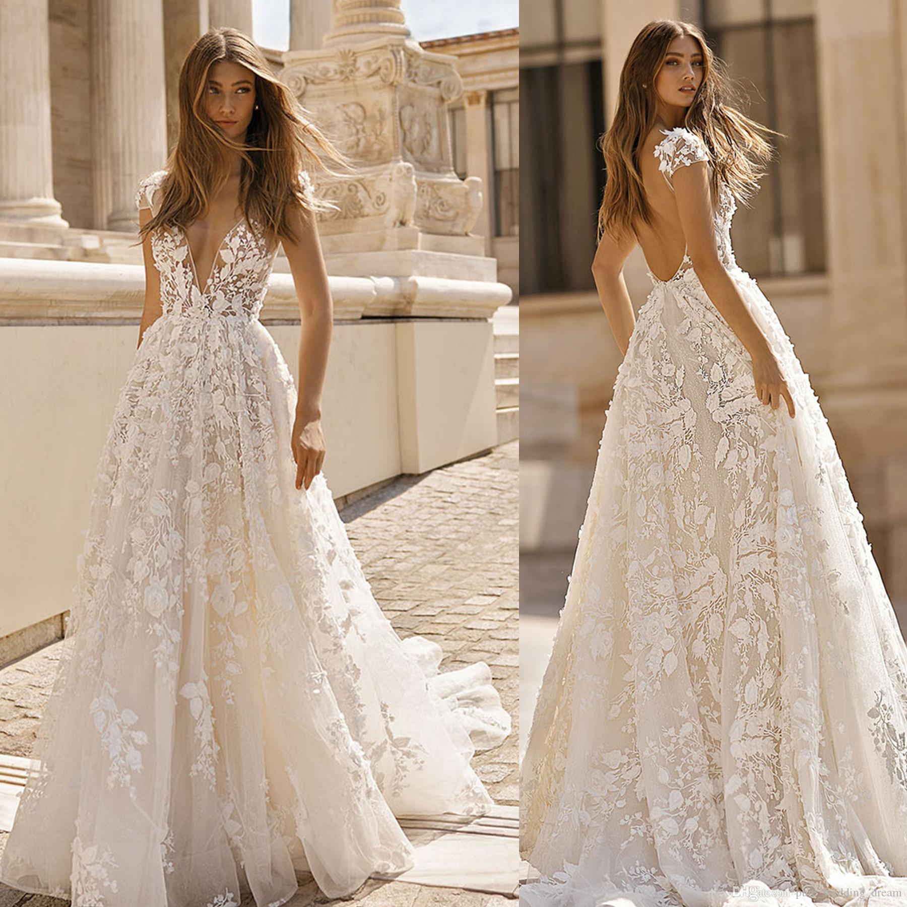 935696c885c Discount 2019 Chic Simple 3D Flowers V Neck Beach Wedding Dresses Illusion  Bodice Backless Beach Bridal Gowns Sweep Train A16 Classic Wedding Dresses  Dress ...