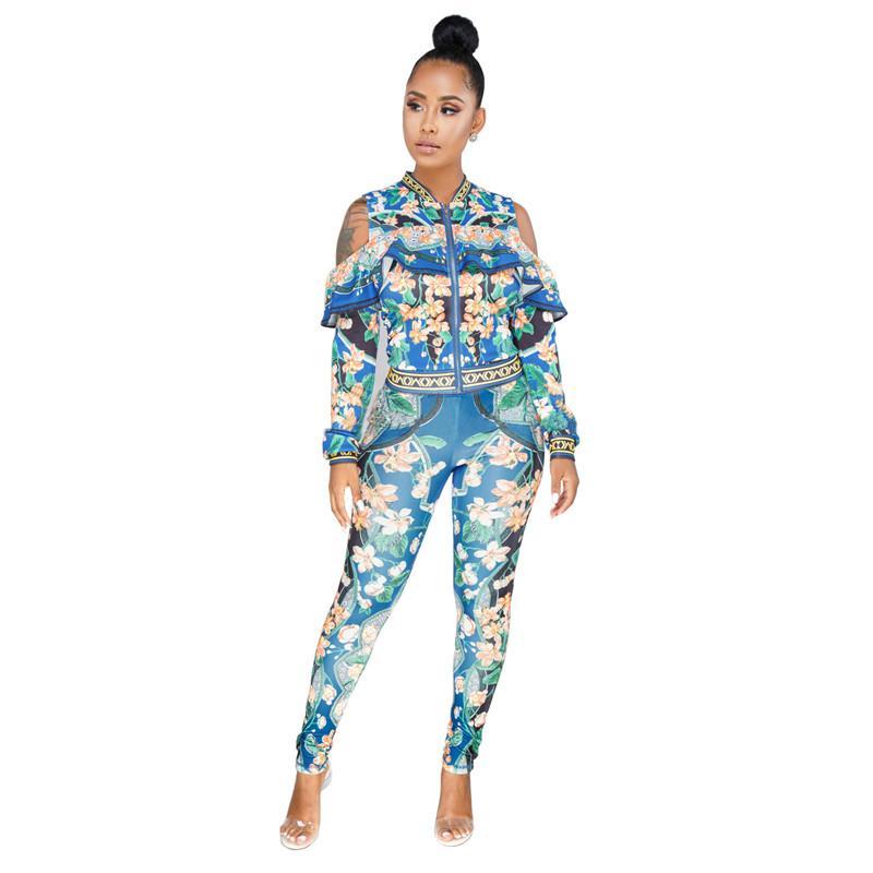 21a5b5f56 2019 Plus Size Sweat Suits Women Tracksuit Set Cold Shoulder Ruffle Zipper  Jacket And Pant Ladies Leisure Suit Floral Two Piece Set From Buxue, ...