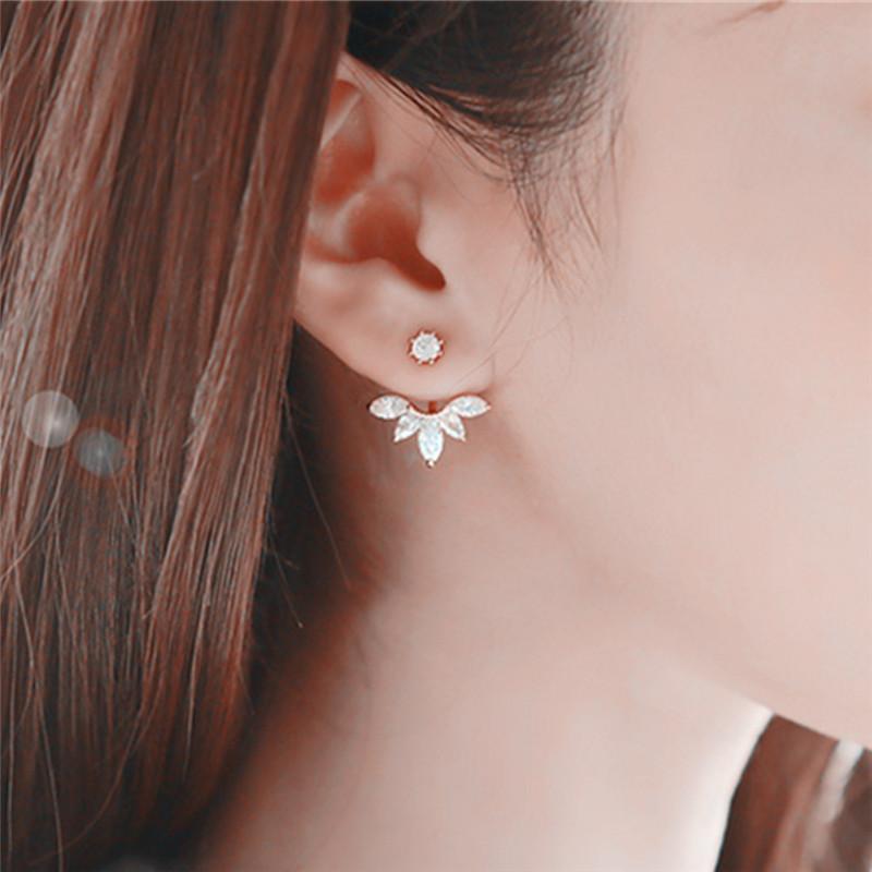 Simple 1pc New Crystal Flower Stud Earrings For Women Girl Ear Piercing Earrings Wedding Bride Jewelry Best Gift